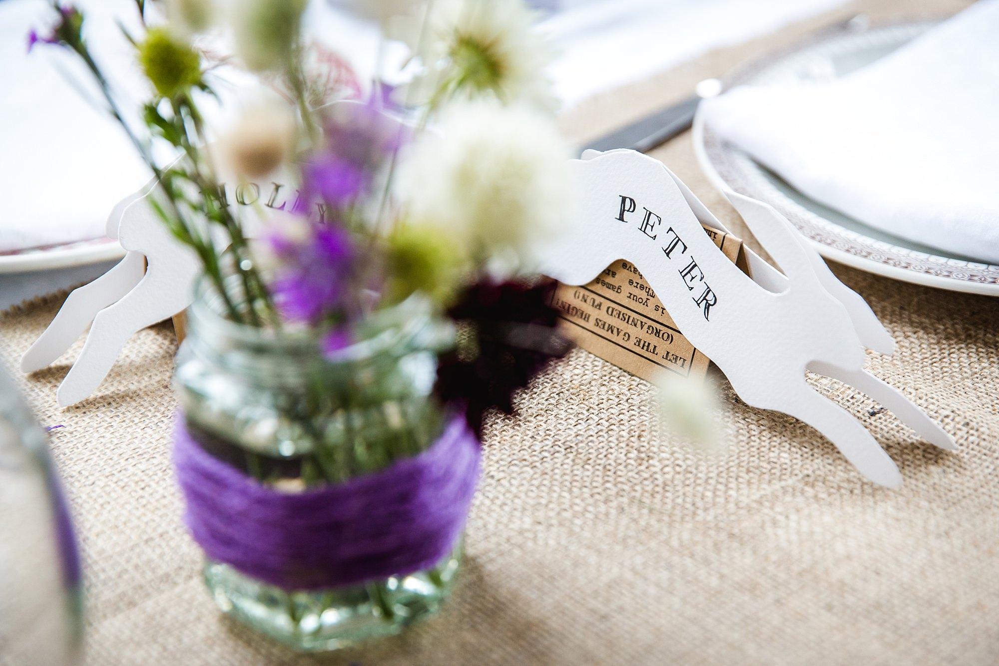 Fun village hall wedding table name detail