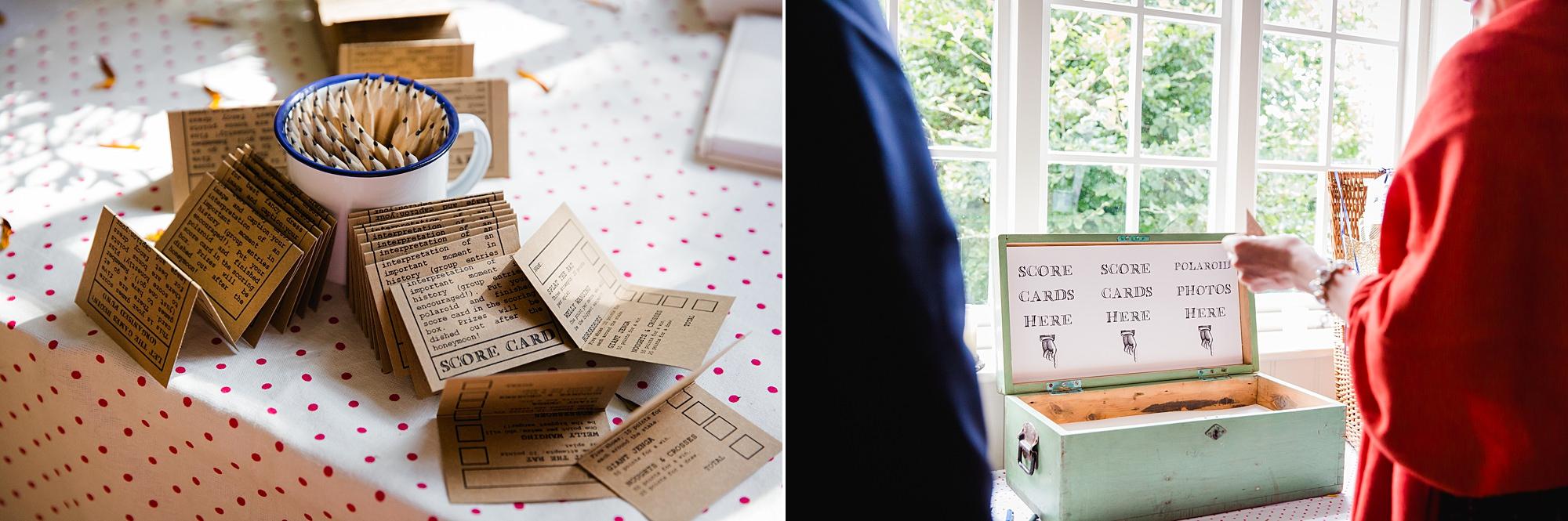 Fun village hall wedding DIY game scorecards