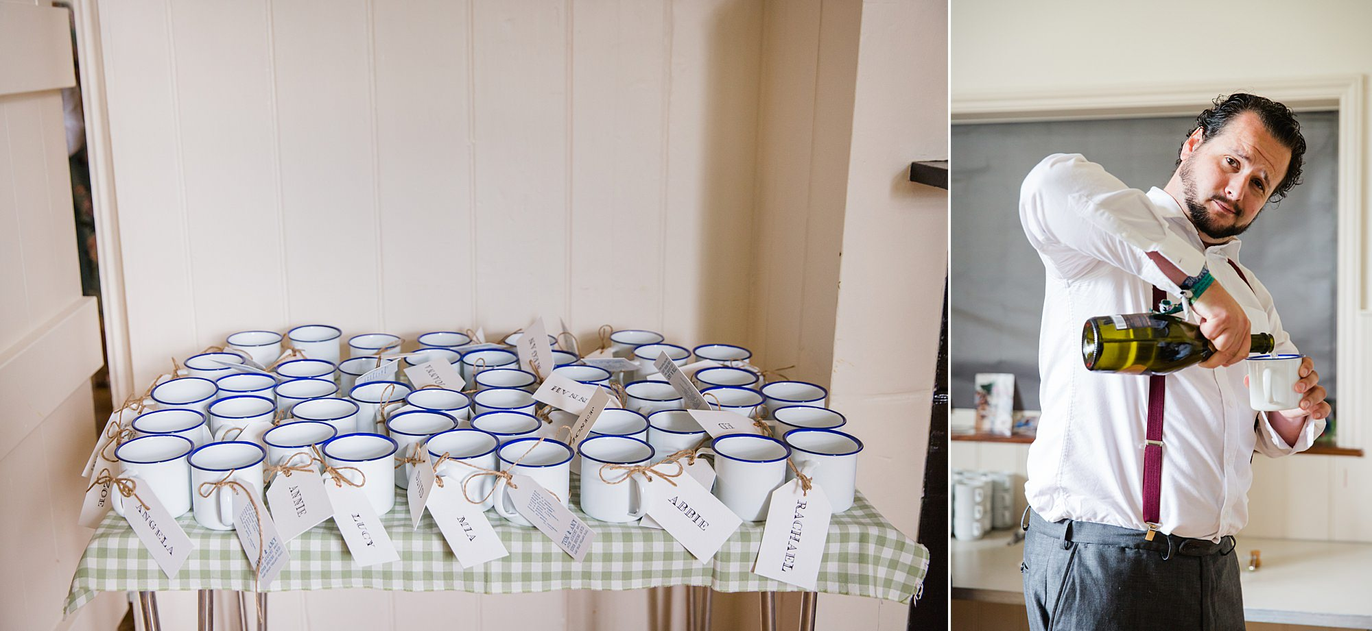 Fun village hall wedding personalised mugs for prosecco