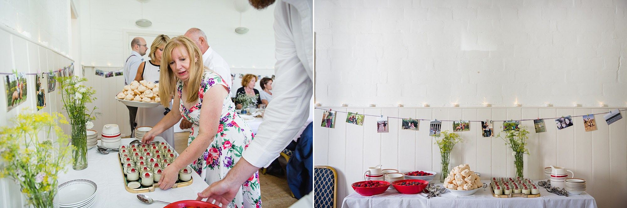 Fun village hall wedding guests putting out home made dessert