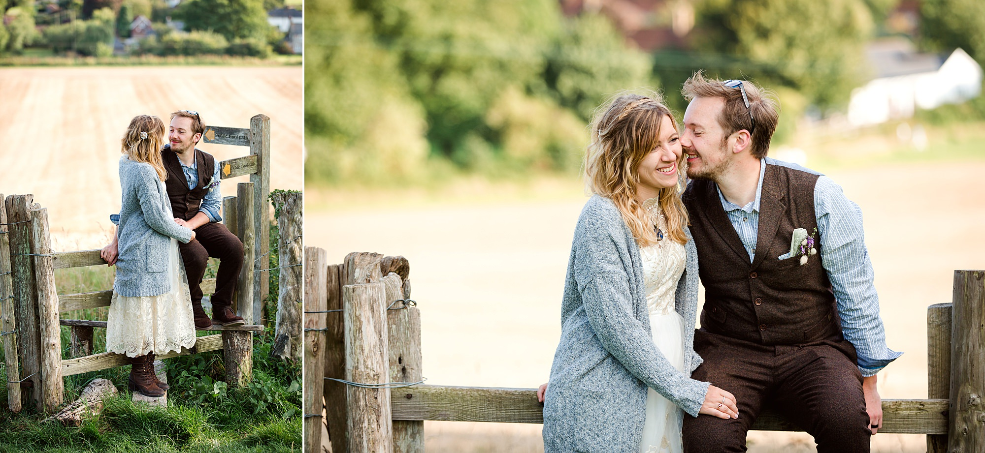 Fun village hall wedding bride and groom in fields at east dean hall
