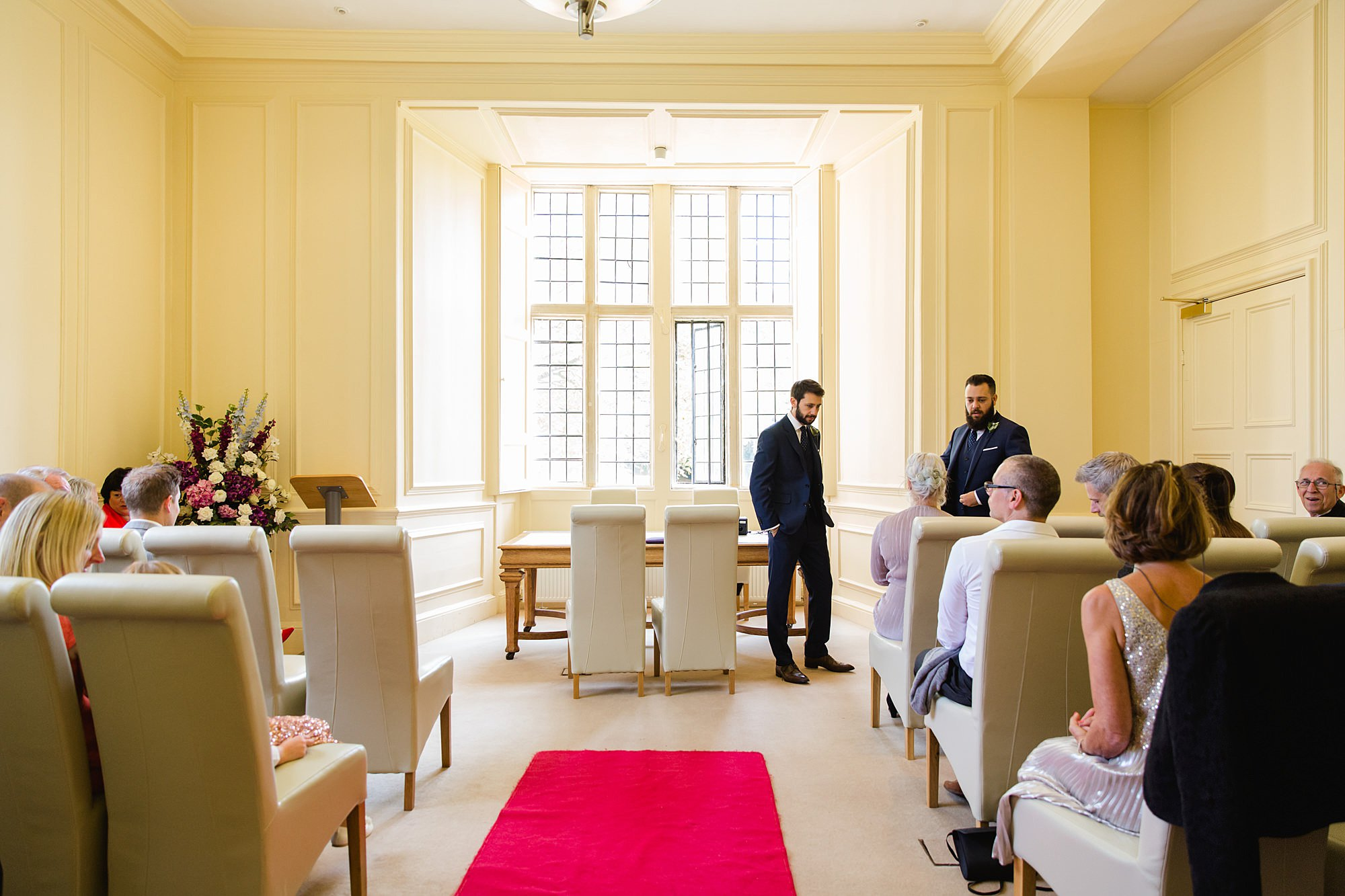 shaw house wedding groom waiting in ceremony room