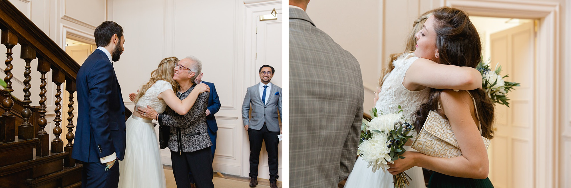 shaw house wedding bride and groom hug guests
