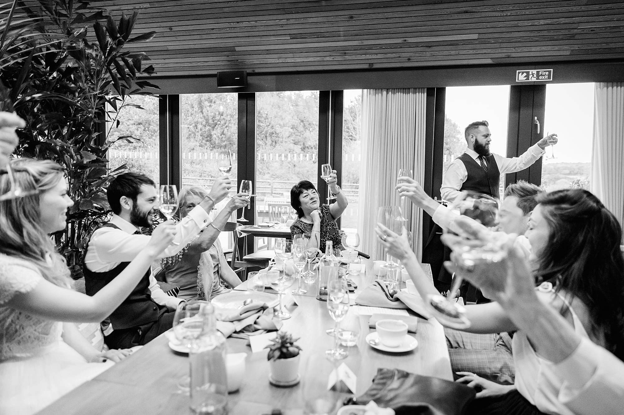 shaw house wedding guests toast together