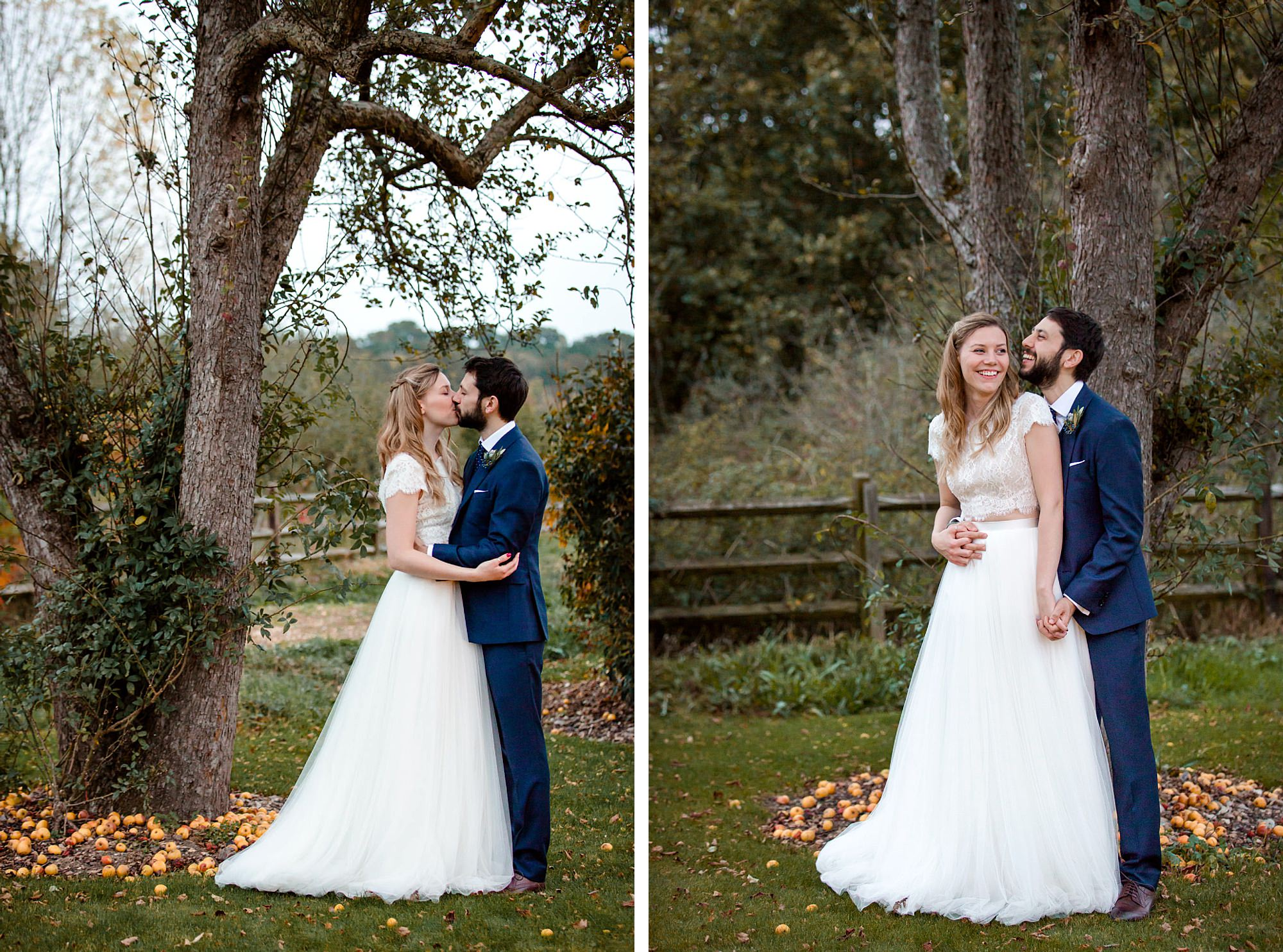 shaw house wedding autumn posterity of bride and groom with apple tree
