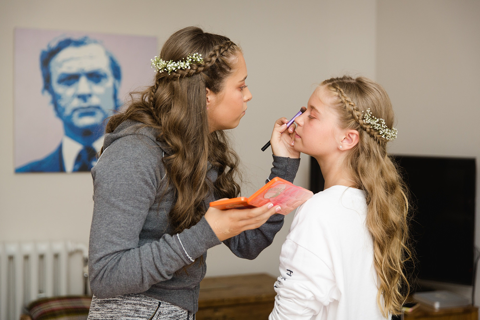 Writtle university college wedding bridesmaid's do their makeup