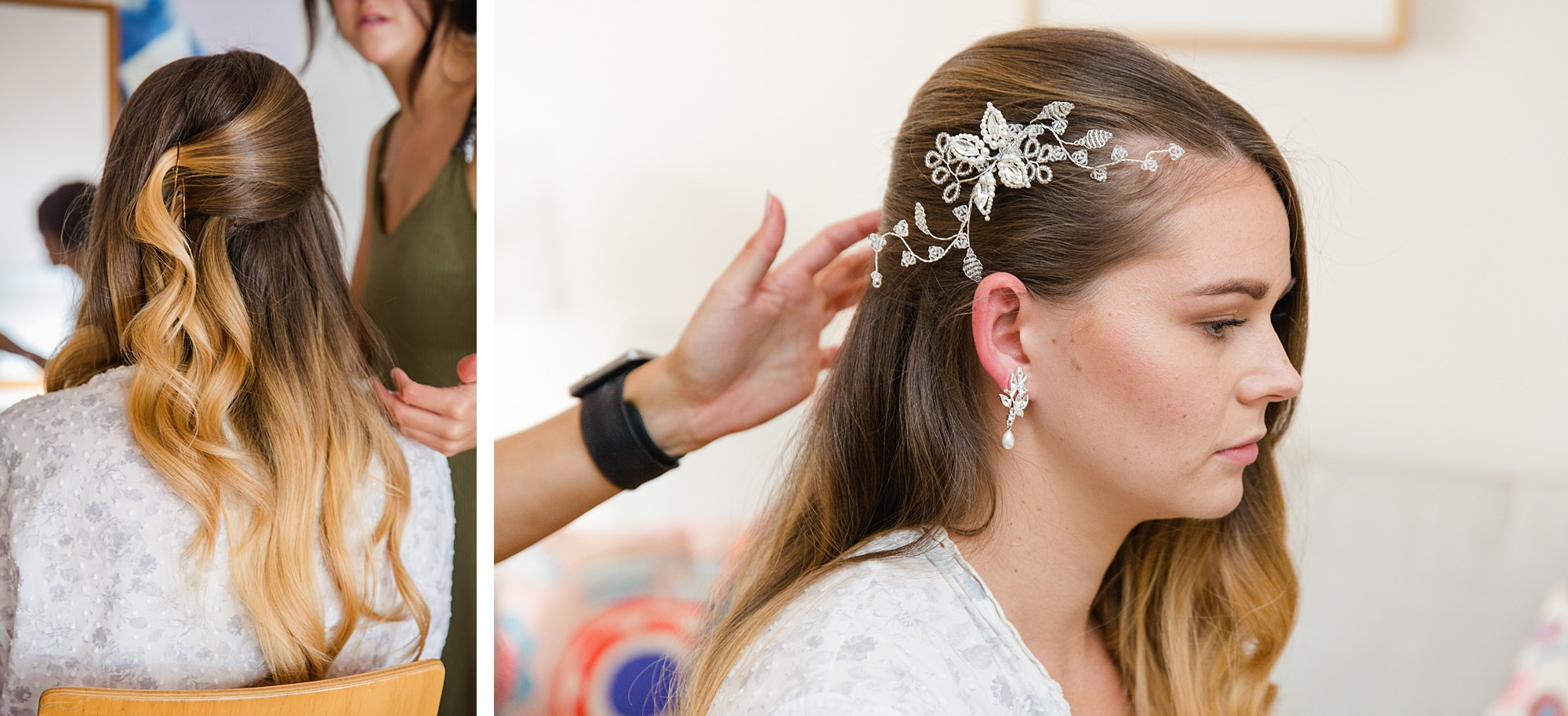 Writtle university college wedding bride has her hair styled