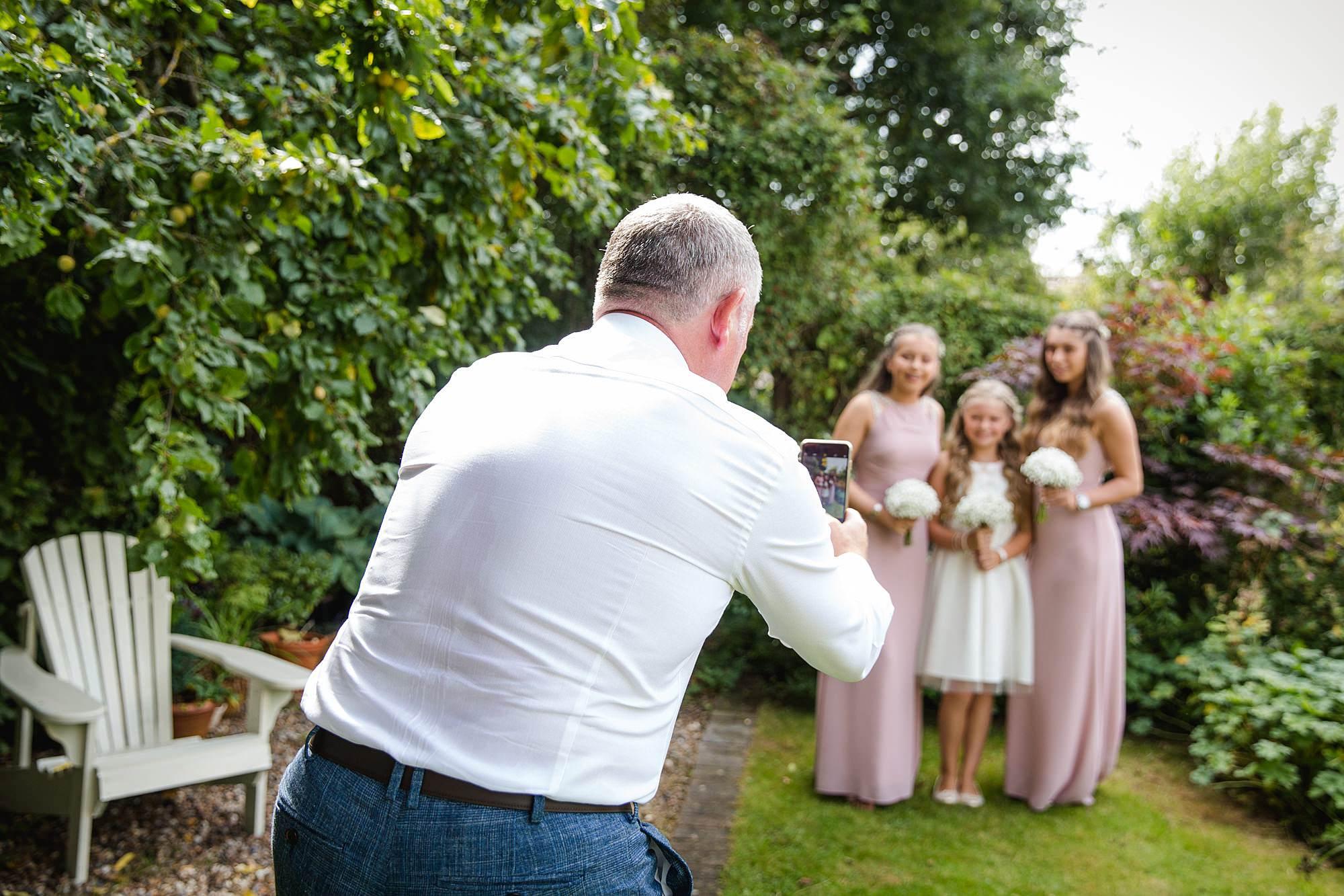 Writtle university college wedding bridesmaids have their portrait taken