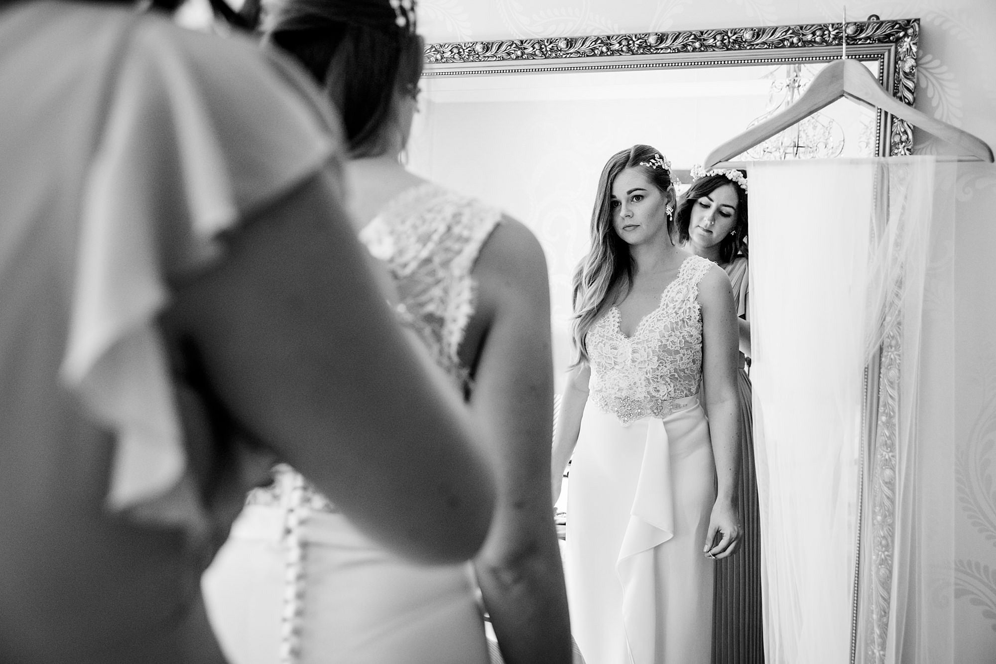Writtle university college wedding bride getting dressed
