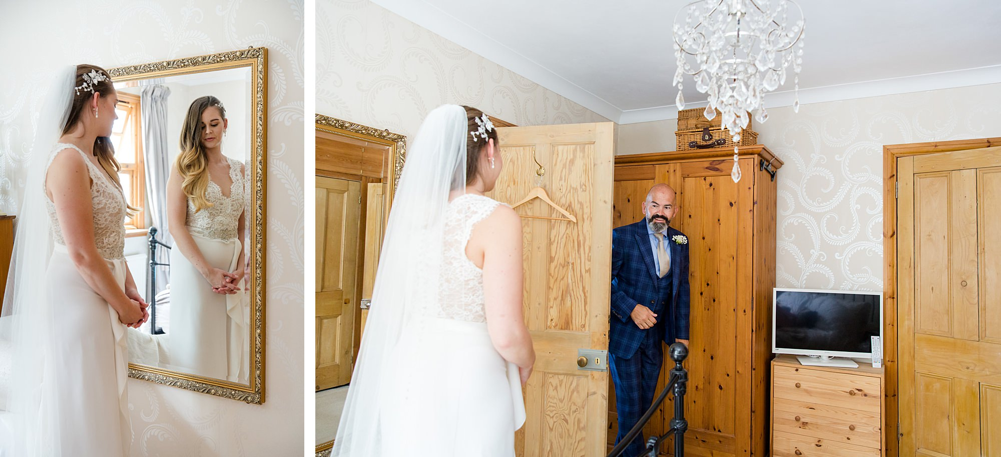 Writtle university college wedding bride's father sees her in her dress