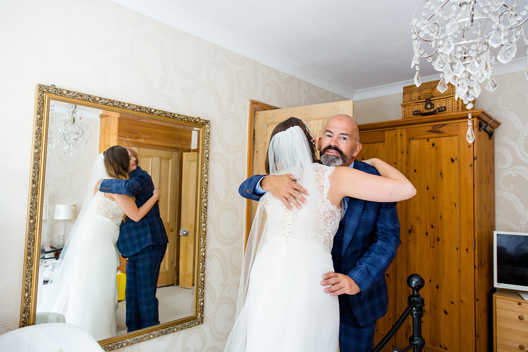 Writtle university college wedding bride hugs her father