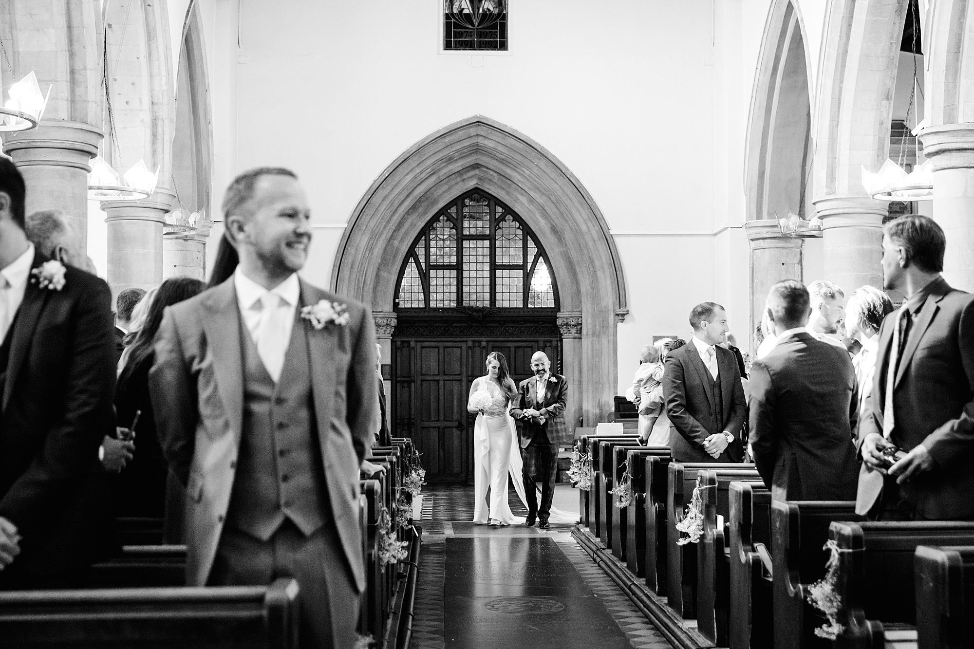 Writtle university college wedding bride arrives a church
