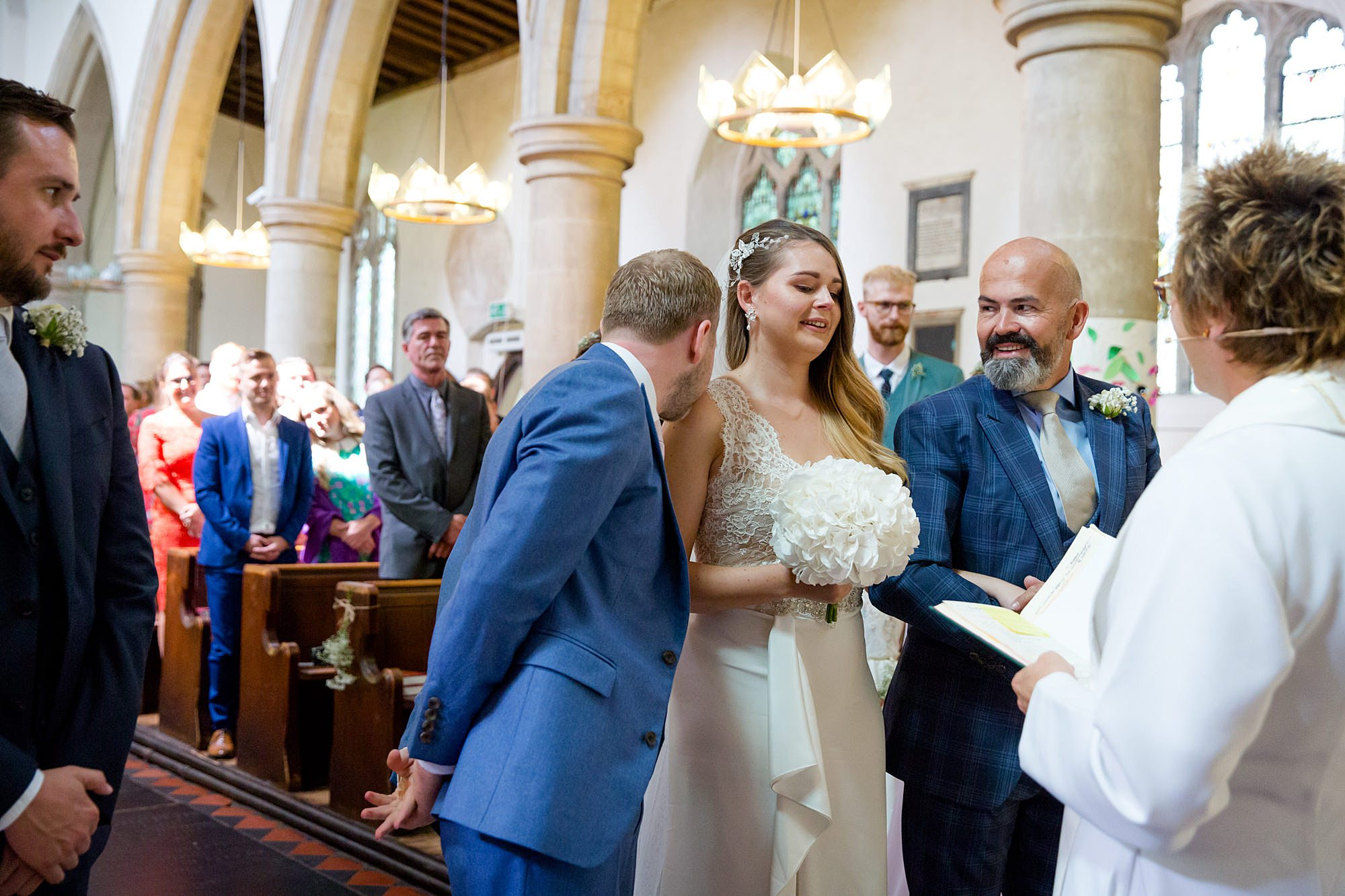 Writtle university college wedding groom greets bride