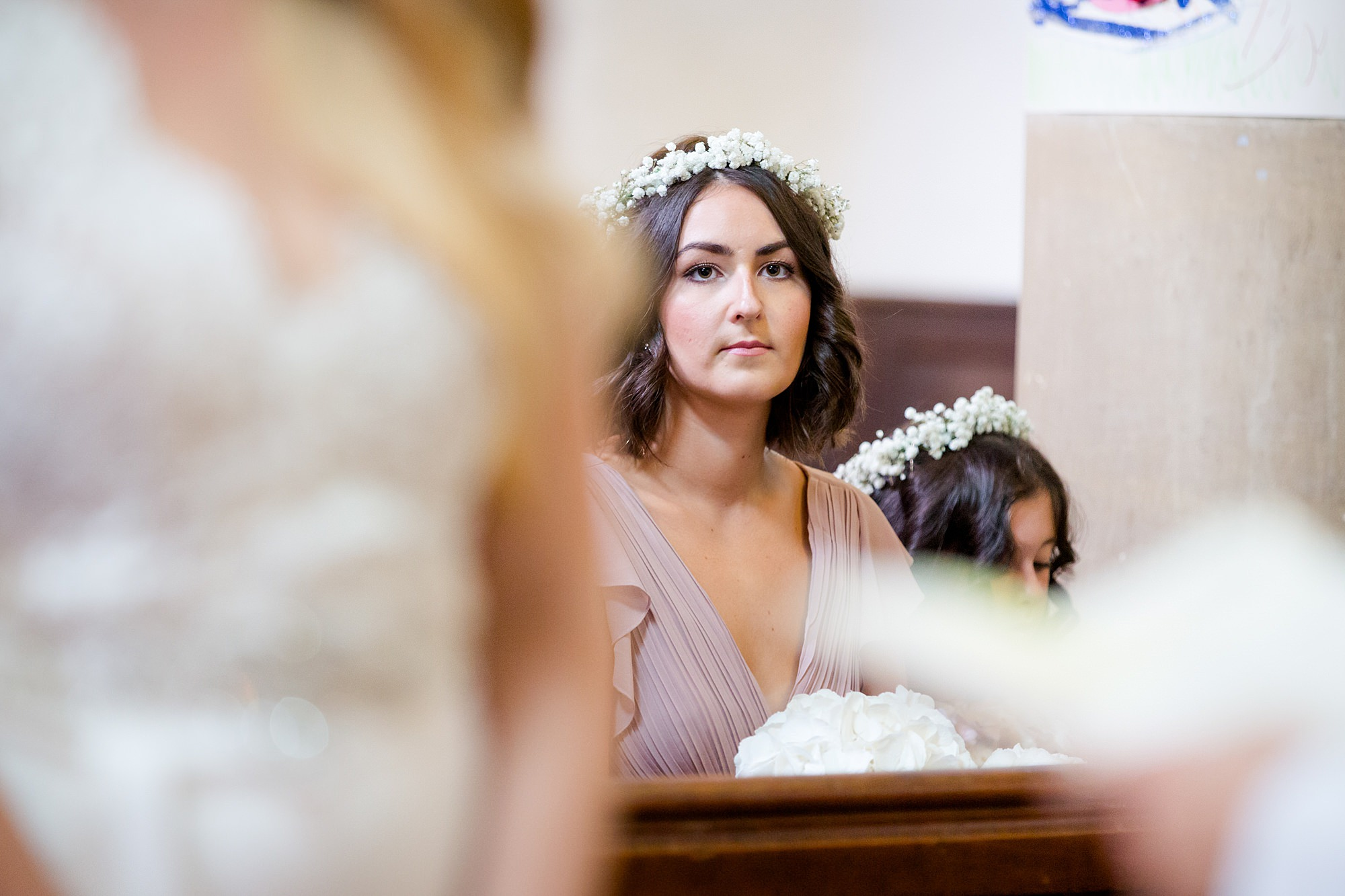 Writtle university college wedding bridesmaid watches ceremony