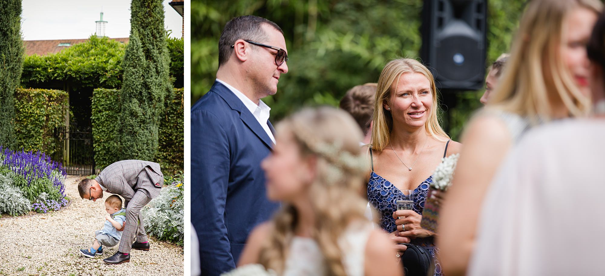Writtle university college wedding guests chat in gardens