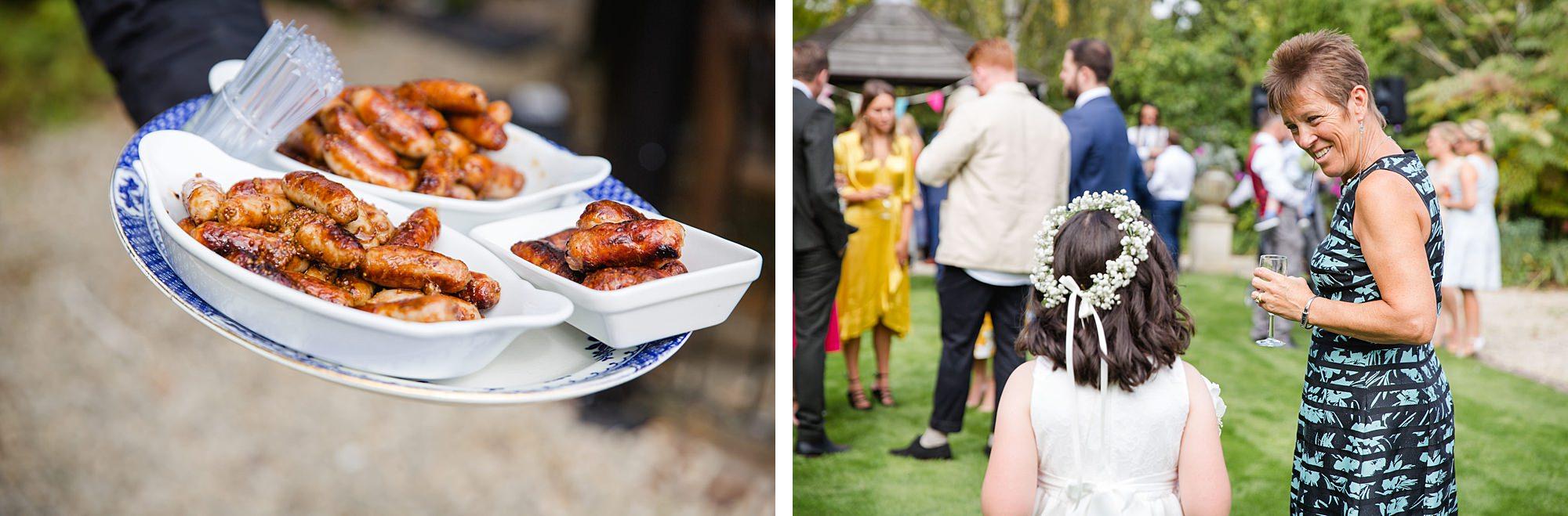 Writtle university college wedding guest enjoy canapés