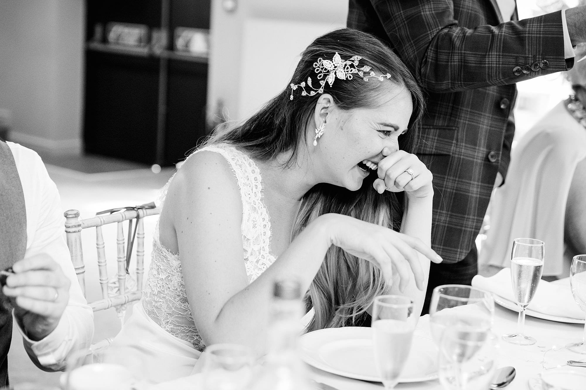 Writtle university college wedding bride laughs at speech