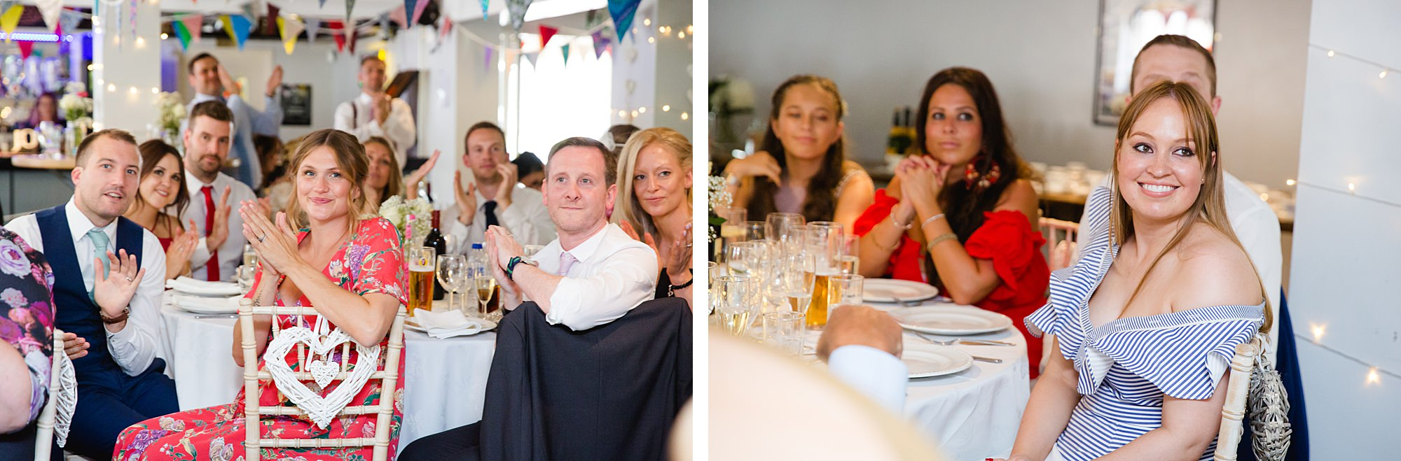 Writtle university college wedding guests enjoying speeches