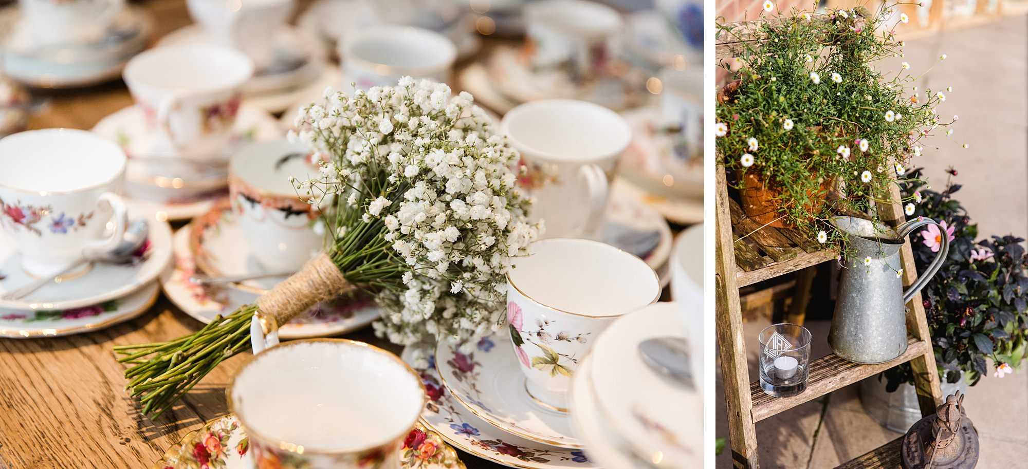 Writtle university college wedding vintage teacups and decorations