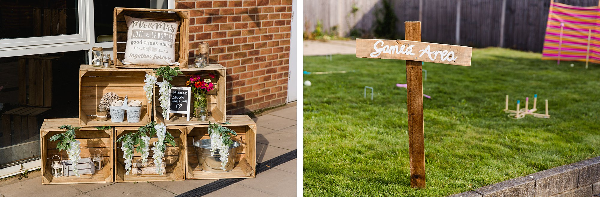 Writtle university college wedding garden games sign and outdoor decorations