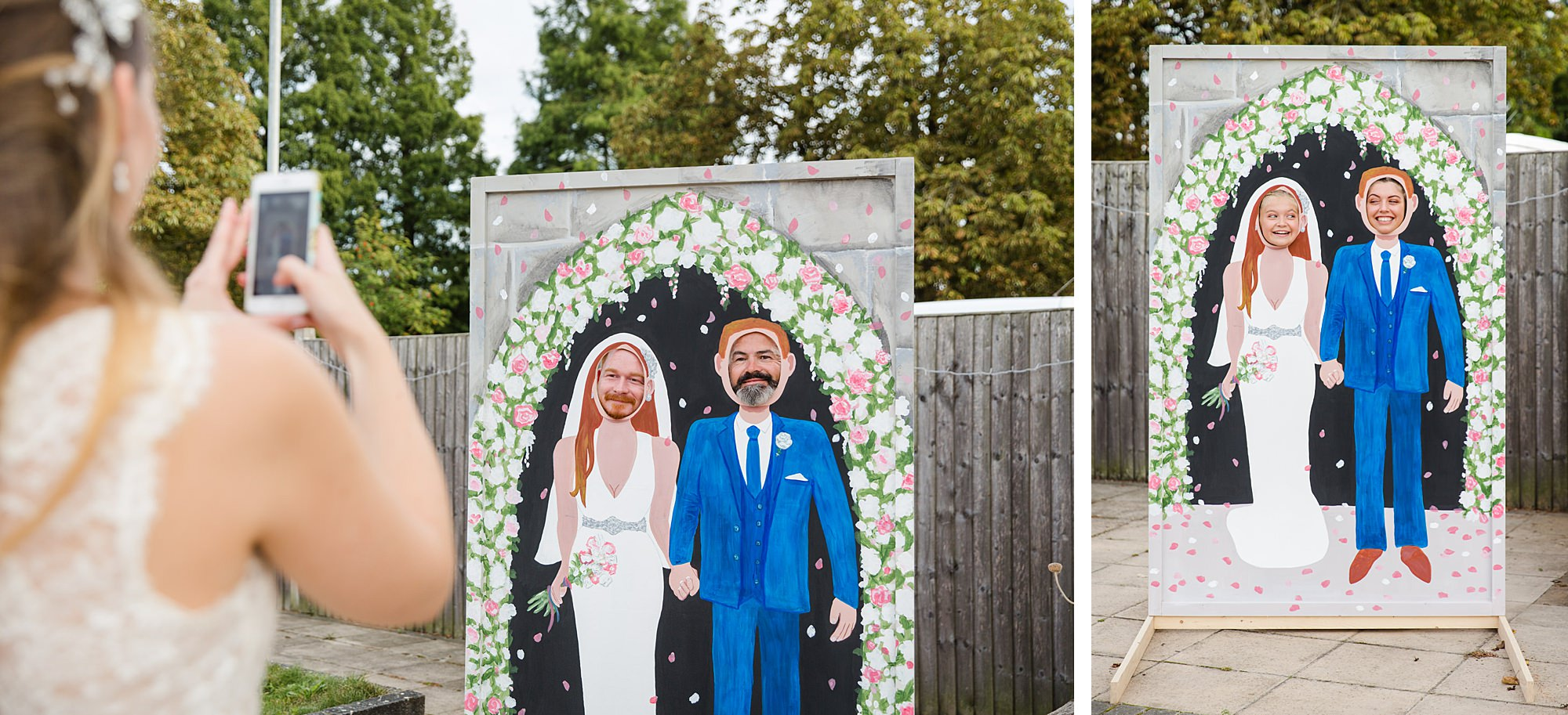 Writtle university college wedding guests play with face in hole boards