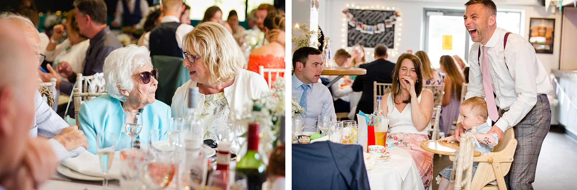 Writtle university college wedding guests enjoying reception