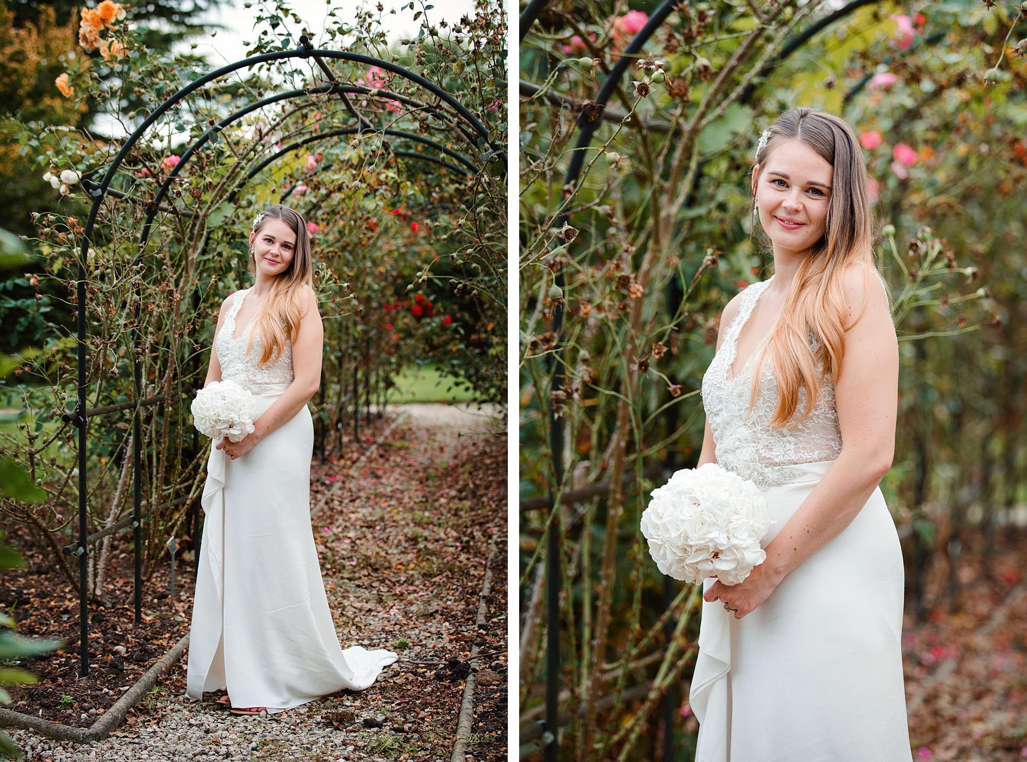 Writtle university college wedding portrait of bride in gardens
