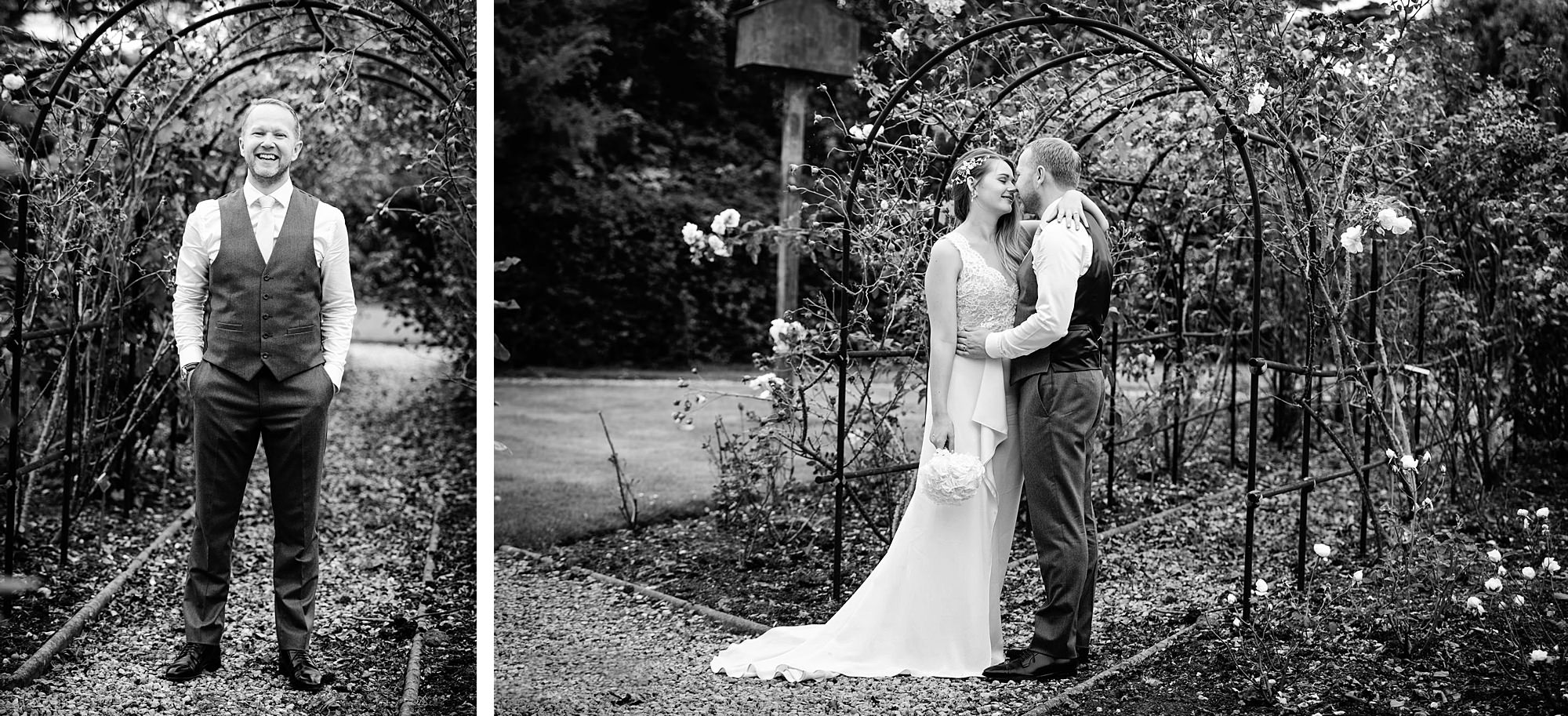 Writtle university college wedding bride and groom in rose garden