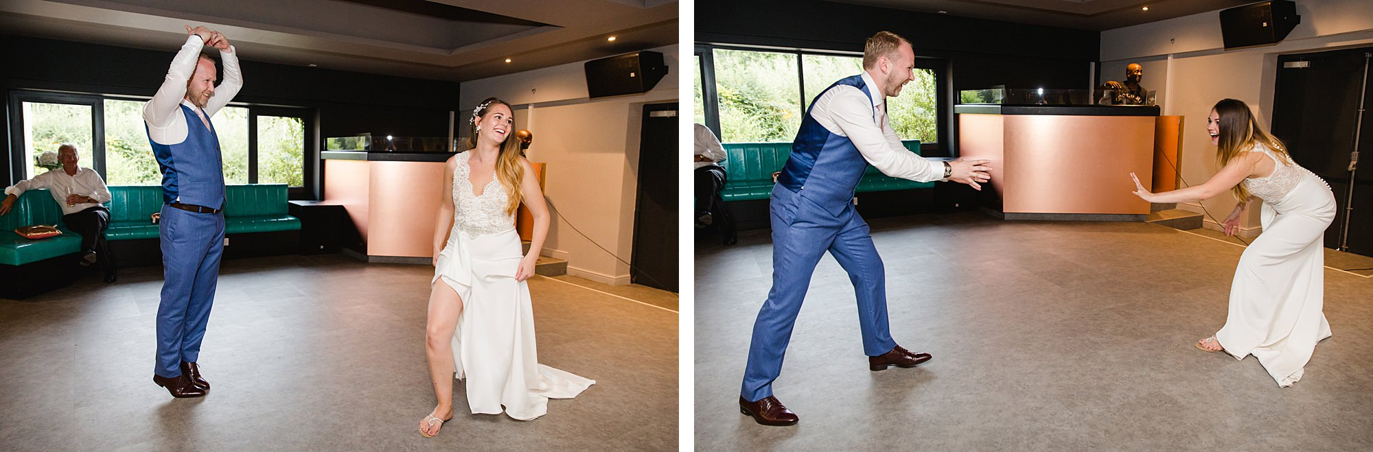 Writtle university college wedding funny picture of bride and groom before first dance