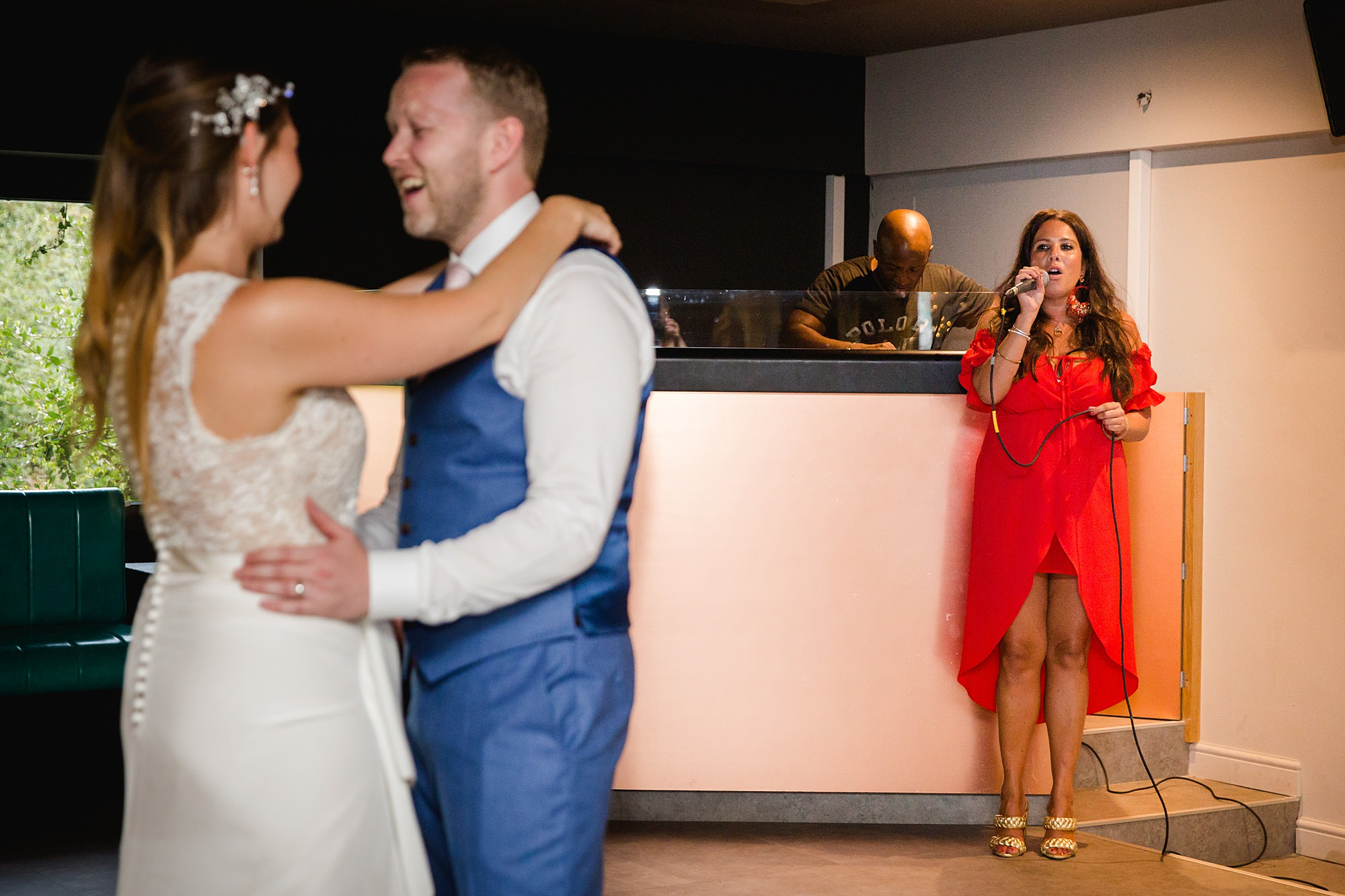 Writtle university college wedding bride and groom dance to live singer