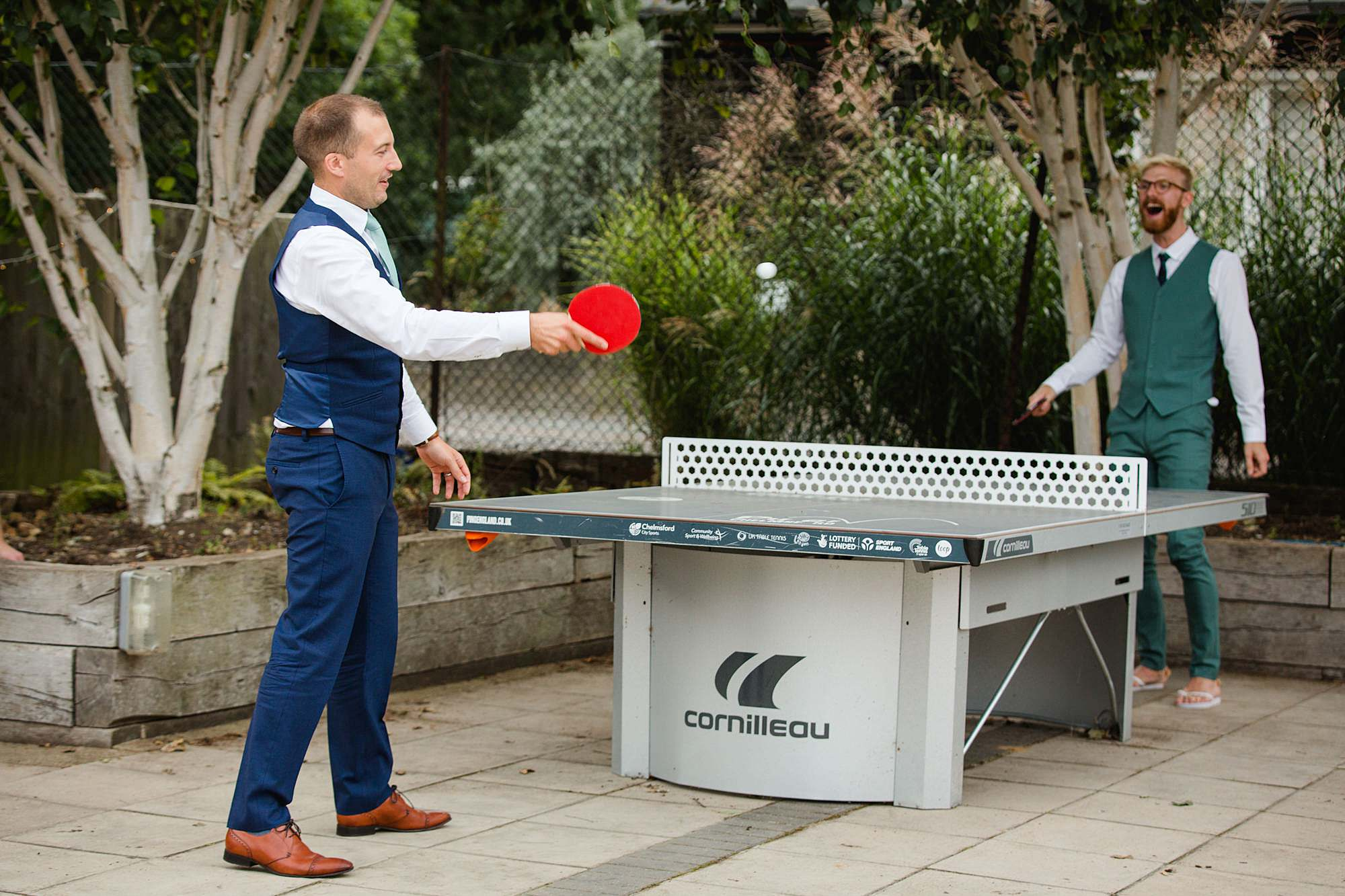Writtle university college wedding guests playing table tennis