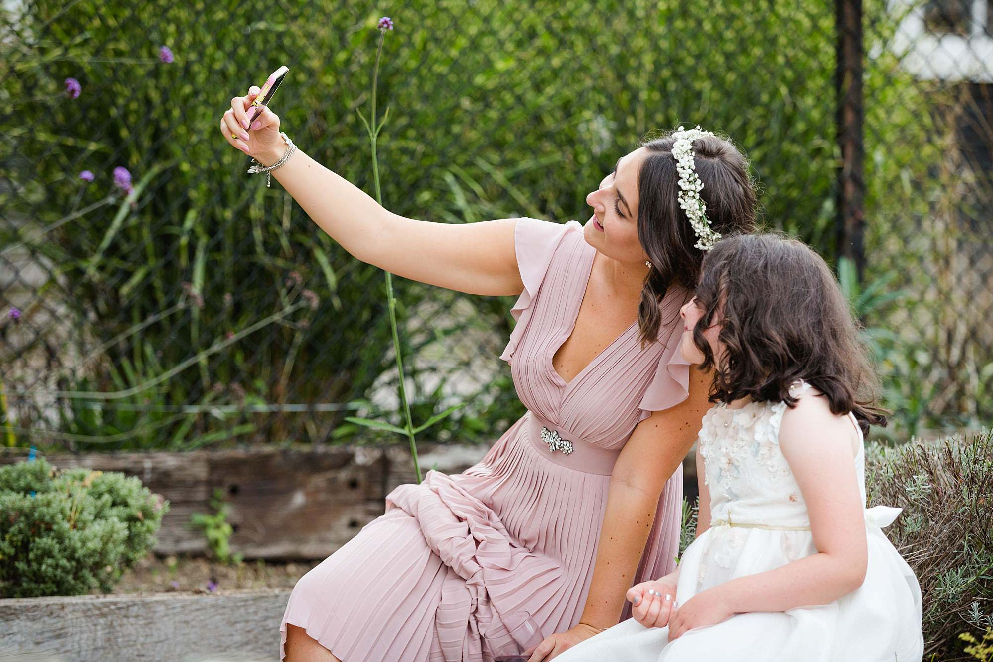 Writtle university college wedding guests take selfie