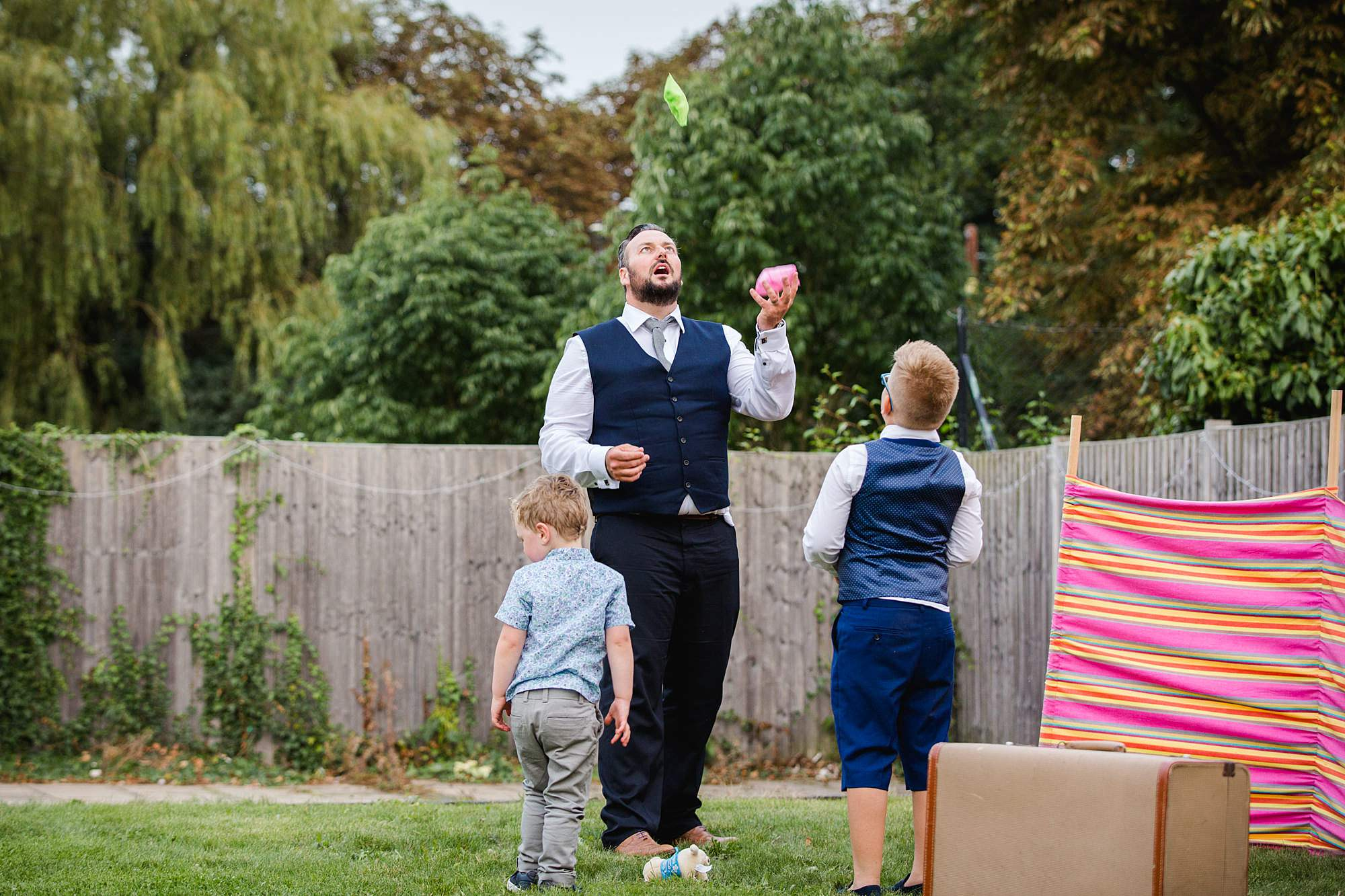 Writtle university college wedding guest juggling
