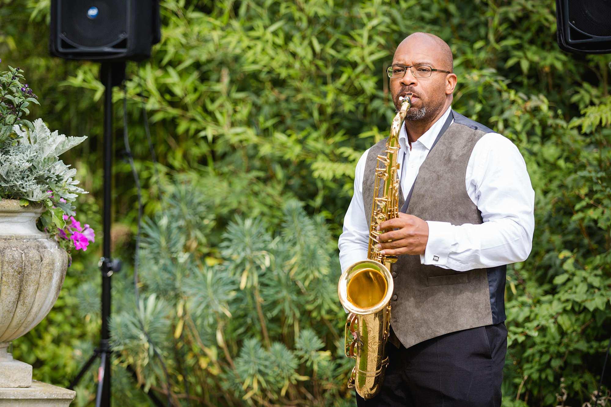 Writtle university college wedding saxophone player