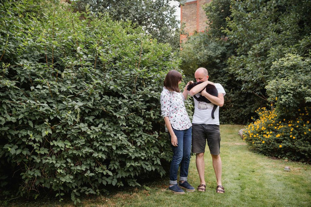 Engagement shoot with cat – James & Philippa's backyard shoot