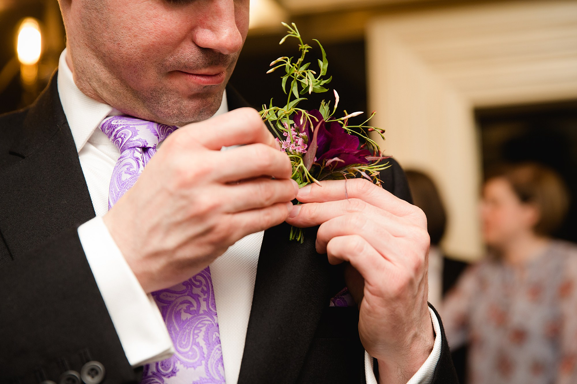 fun london wedding bowling groom with buttonhole