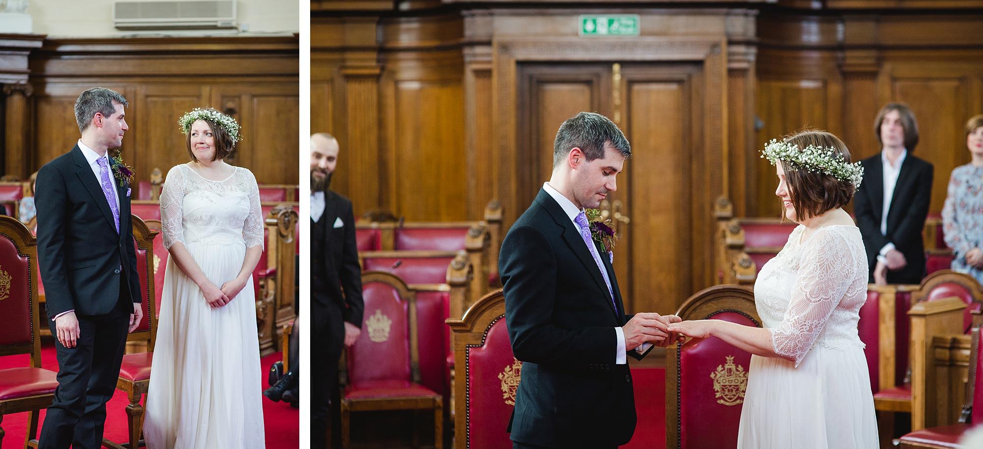 fun london wedding bowling bride and groom exchange rings