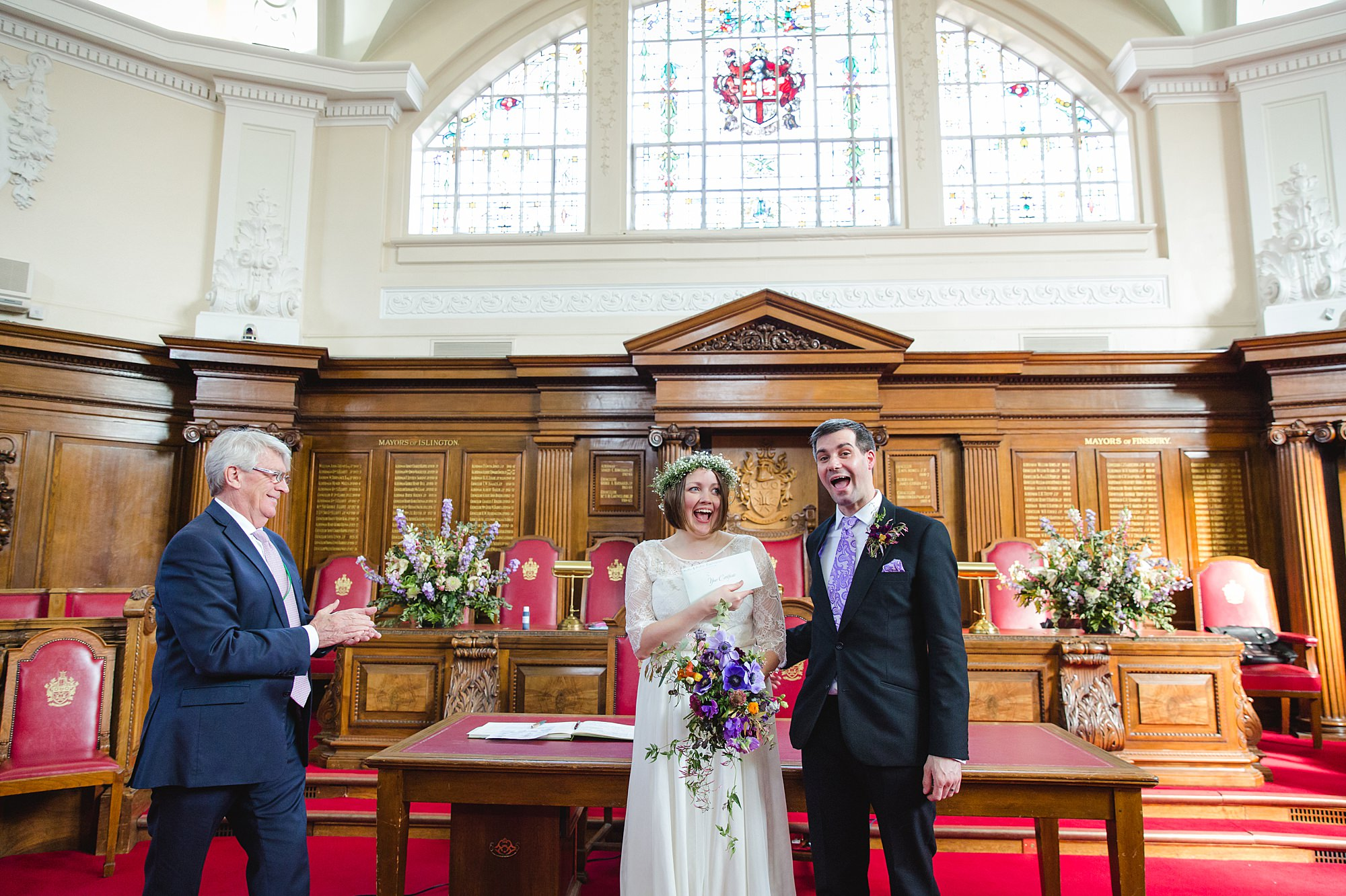 fun london wedding bowling bride and groom with marriage certificate