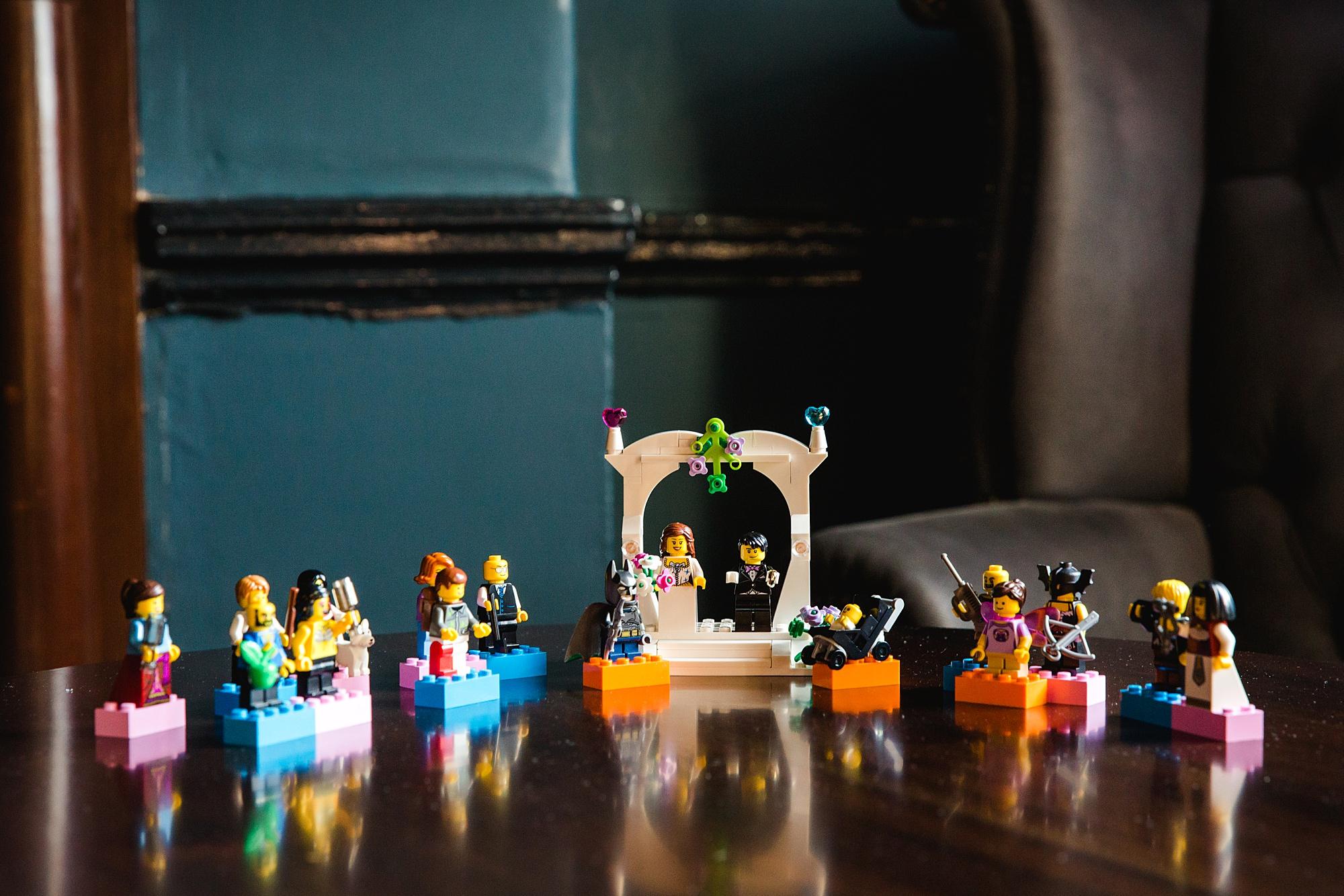 fun london wedding bowling lego table decoration
