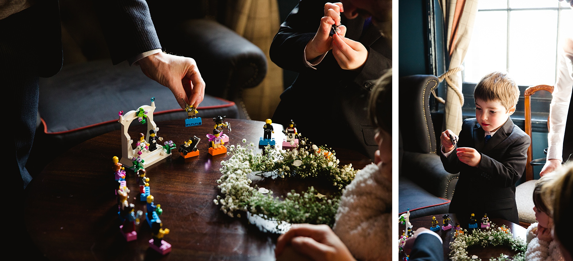 fun london wedding bowling guests playing with lego