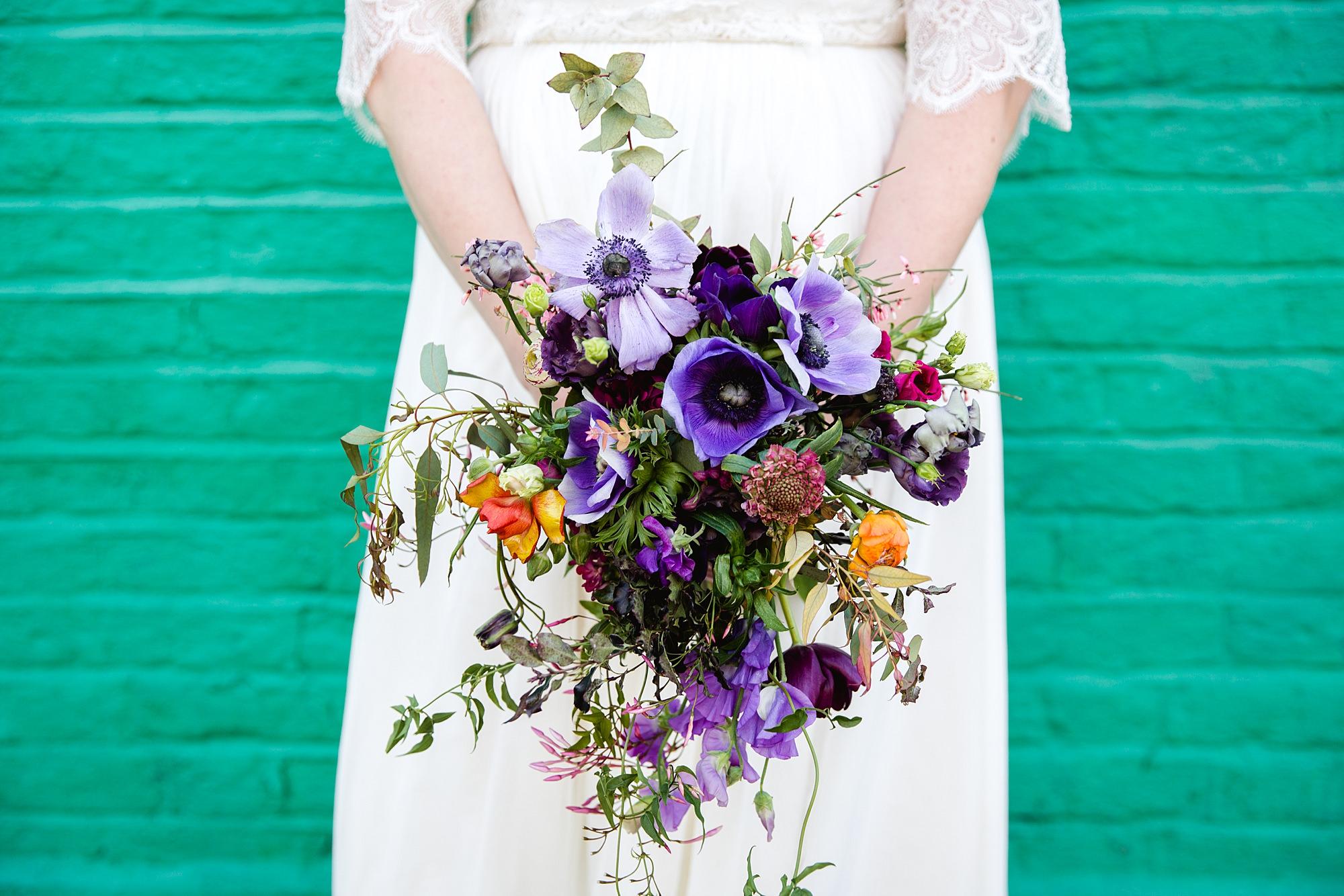 fun london wedding bowling bride's bouquet