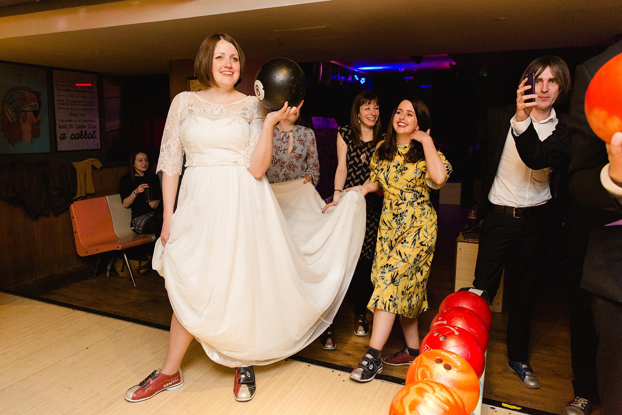 fun london wedding bowling at bloomsbury