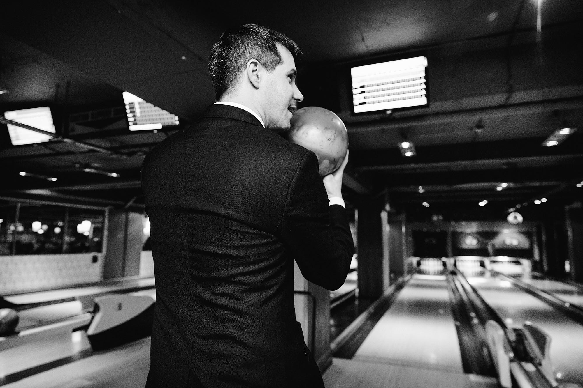 fun london wedding bowling bowling groom