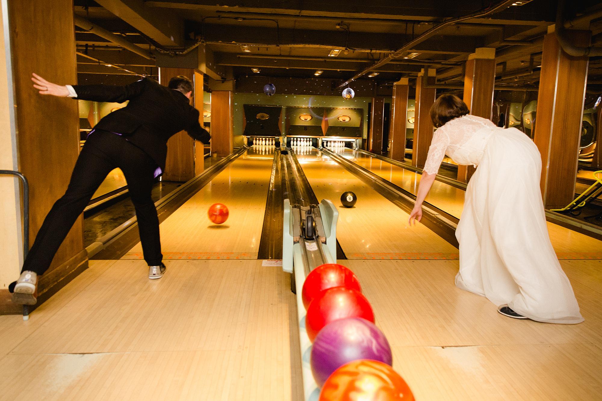 fun london wedding bowling bride and groom bowling