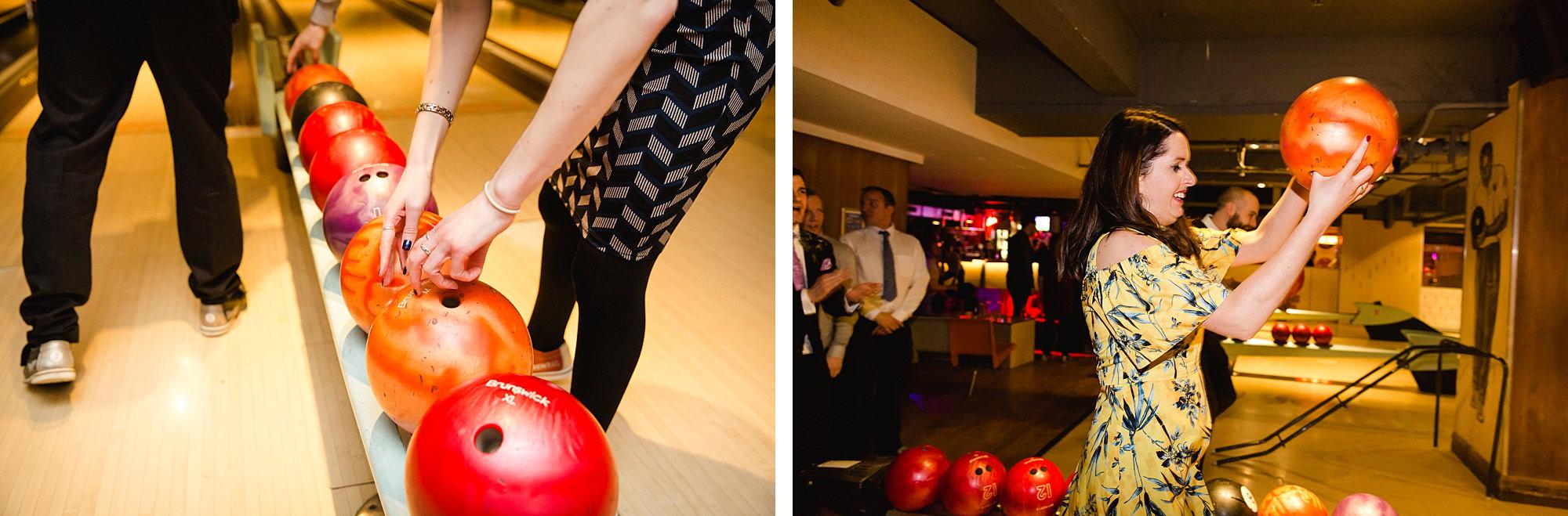fun london wedding bowling guests selecting bowling ball