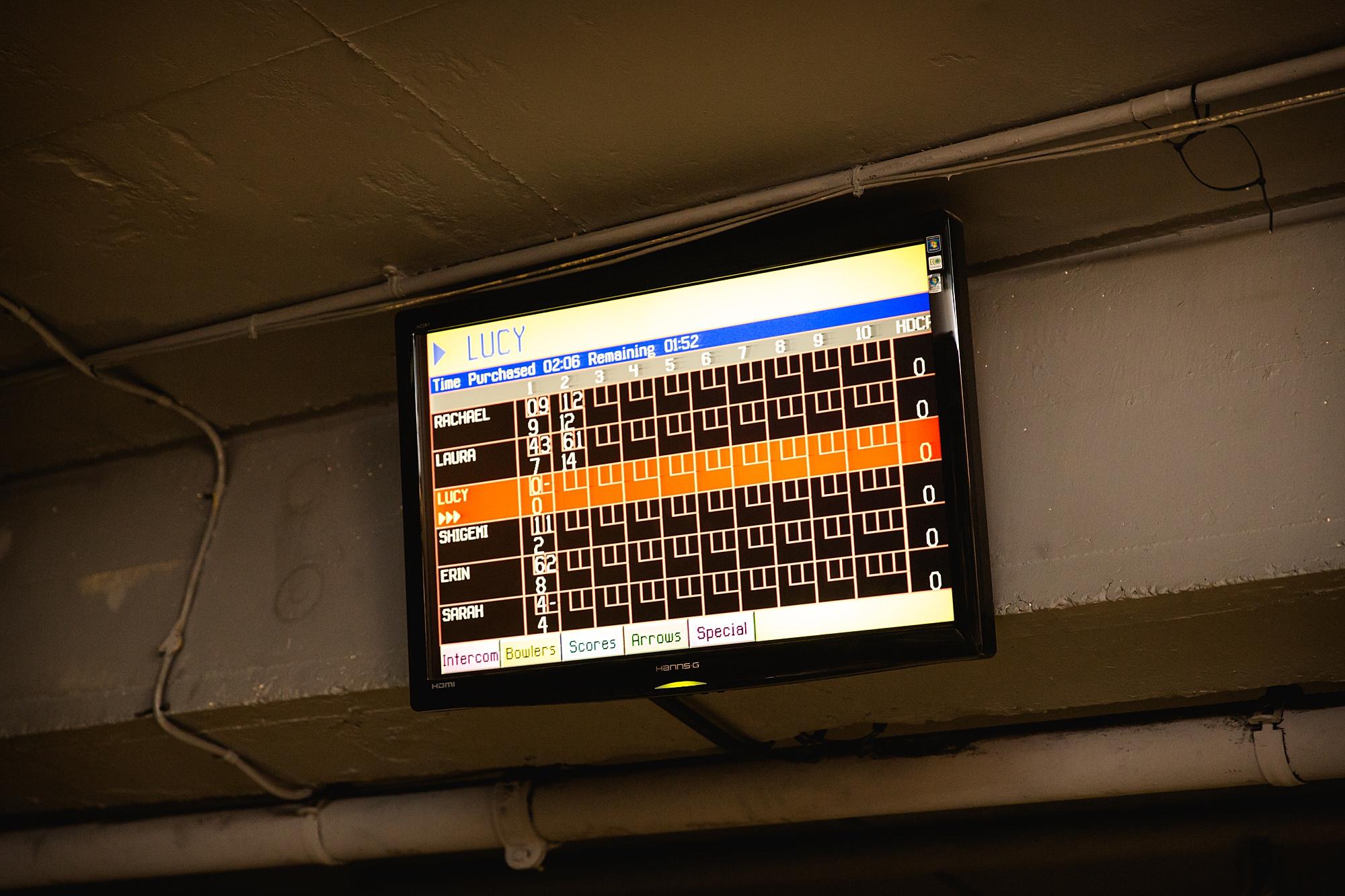 fun london wedding bowling score screen
