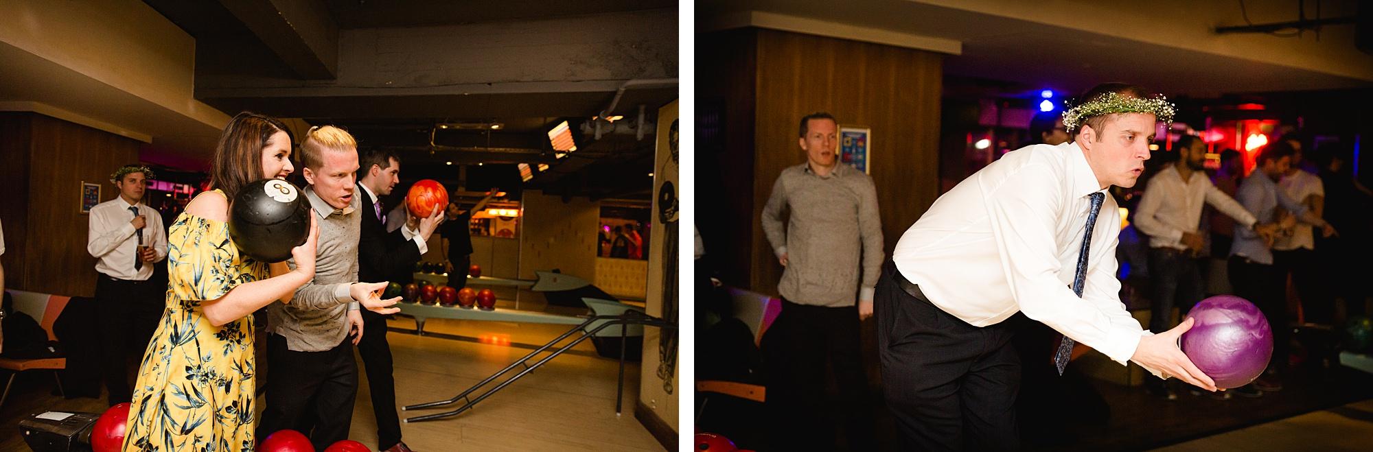 fun london wedding bowling fun guests bowling