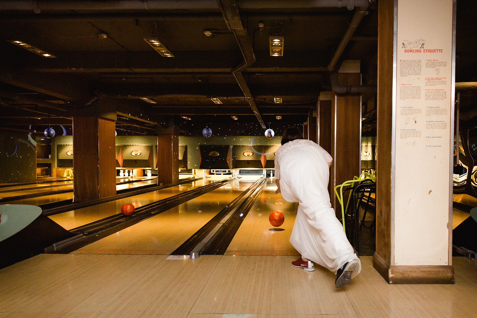 fun london wedding bowling bride