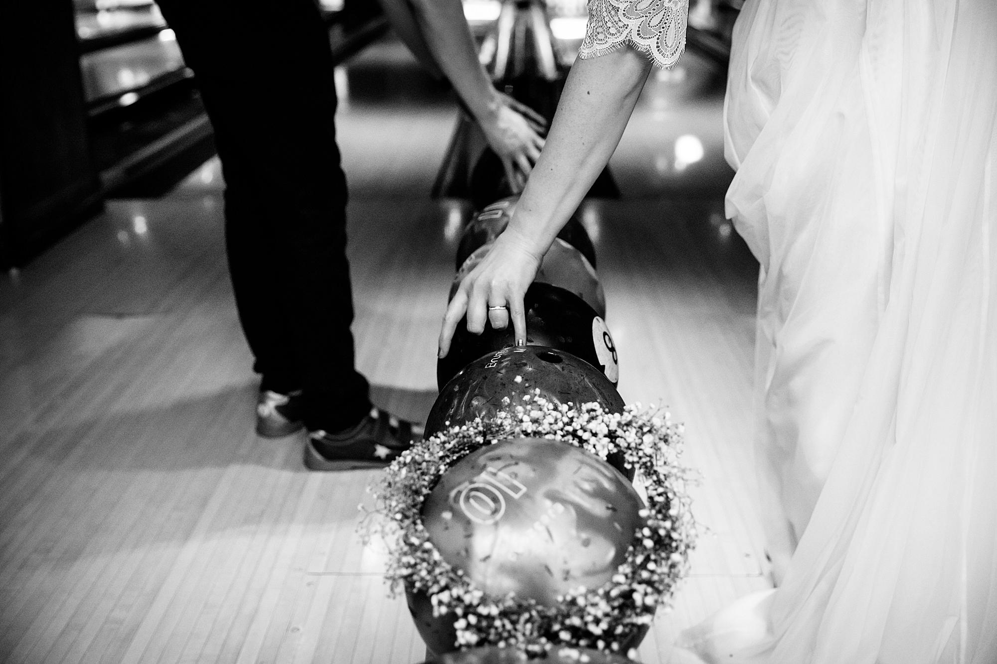 fun london wedding bowling hands choosing bowling balls