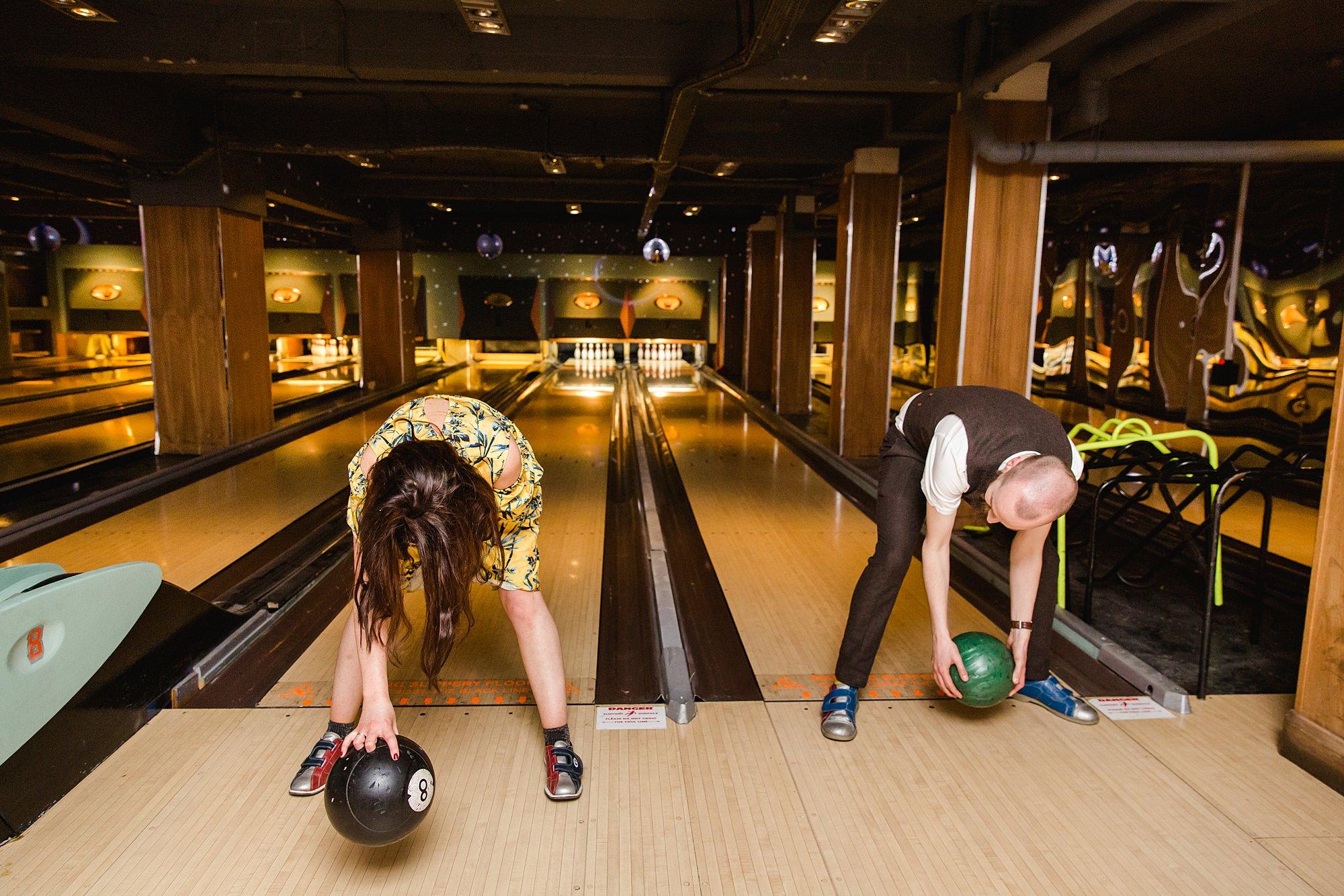 fun london wedding bowling fun guests
